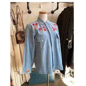 Tops - Vintage Embroidered Jean Button Up